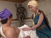 Blonde Japanese cutie Sakura Kizuna enjoys cosplay sex and gives head