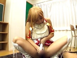 Solo Japanese in sexy costume, insane masturbation