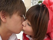 Two Japanese teen girls in nice costumes enjoy mmff cosplay sex