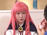 Cosplay sex loving babe Sakura Kizuna gets pussy fingered