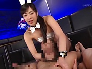 Asian bunny woman gives a hot footjob in a crazy group aciton