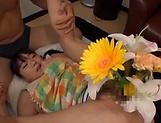 Naughty Asian teen Ayane Suzukawan is into threesome toying picture 14