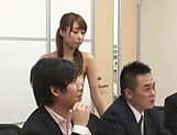 Office lady is having group sex at work
