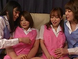 Hot Tokyo lesbian get freaky in a foursome scene picture 13