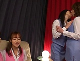 Hot Tokyo lesbian get freaky in a foursome scene