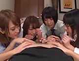 Japanese girls in smashing group sex oral display  picture 10