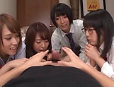 Japanese girls in smashing group sex oral display  picture 1