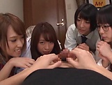 Japanese girls in smashing group sex oral display  picture 2
