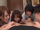 Japanese girls in smashing group sex oral display  picture 3