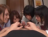 Japanese girls in smashing group sex oral display  picture 4
