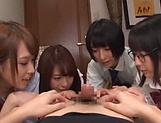 Japanese girls in smashing group sex oral display