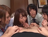 Japanese girls in smashing group sex oral display  picture 6