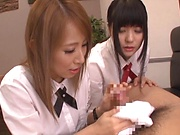 Sweet Japanese girl shares dick with her best friend