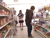 Girls at the store sharing cock in perfect POV