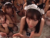 Beautiful Asian hotties in a wild hardcore gang-bang session picture 14