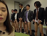 Office babe sucks and fucks all her colleagues