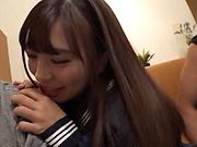 Naughty schoolgirl Sasami Aya is sucking