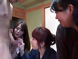 Three naked Japanese sex dolls fuck one dude on a group action picture 12