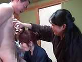 Three naked Japanese sex dolls fuck one dude on a group action picture 14