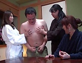 Three naked Japanese sex dolls fuck one dude on a group action