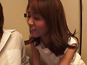 Petite Japanese girls Katase Hitomi and Fukiishi Rena fuck in foursome