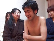 Three Japanese mature chicks favor a young guy with mfff sex