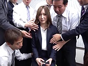 Office babe jizzed on ass after pleasing with blowjob