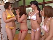 Steaming hot Japanese chicks in bikini share one hard dick