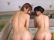 Mischievous Japanese chicks arrange a soapy sex for some guy