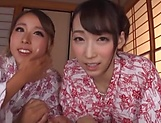 Three dirty-minded Japanese milfs perform a nasty cock ride