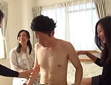 Three mature vixens from Japan fuck a horny guy and enjoy facesitting
