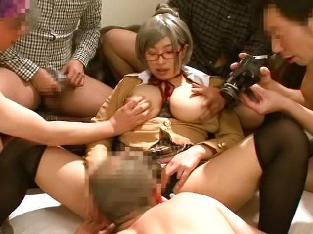 Haruna Hana, gets a messy cum on tits