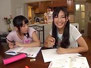 Steamy Japanese gangbang with three slim ladies