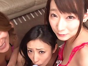 Lucky stud fucking Japanese mature babes