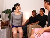 Wild Japanese milf Inoue Ayako fucked by three guys gets toyed picture 13