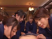 Japanese kimono gangbang with hot women
