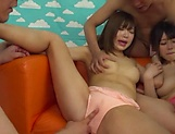 A group of naked Japanese cuties enjoy hardcore group sex picture 13