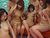 A group of naked Japanese cuties enjoy hardcore group sex