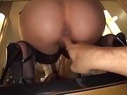 Babe with a nice ass got gangbanged