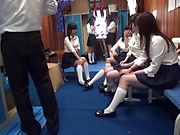 Naughty schoolgirls getting freaky with a horny teacher