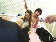 Lusty schoolgirl enjoy steamy foursome action
