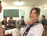 Raunchy action by a yummy schoolgirl picture 9
