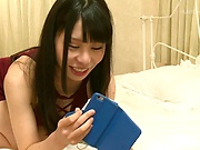 Naughty Hanaoka Kana masturbates while alone on her bed