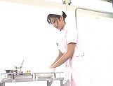 Hot Japanese nurse Mashiro Kanna spreads gets a huge cock