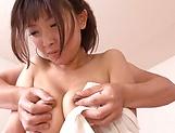 Ogura Yuzu enjoys a sloppy tit licking