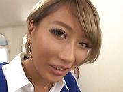 Japanese av model blows cock in perfect POV