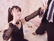 Cute Asian teen Rena Aoi in raunchy blowjob scene