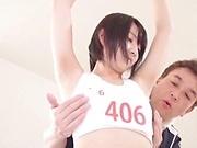 Hot Japan girl ends porn play with cum on tits