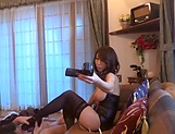 Pretty babe Shinoda Ayumi in black stockings enjoys a shag picture 11