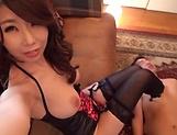 Pretty babe Shinoda Ayumi in black stockings enjoys a shag